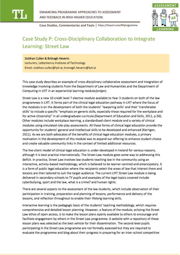 Case Study P: Cross-Disciplinary Collaboration to Integrate