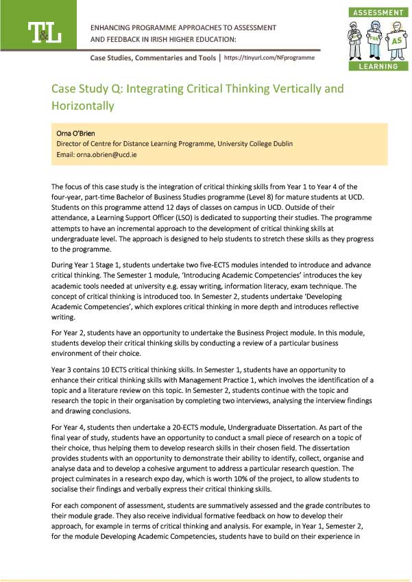 Case Study Q: Integrating Critical Thinking Vertically and